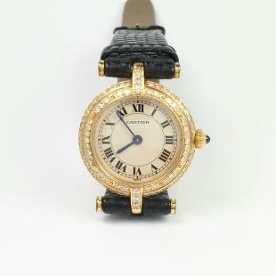 Cartier Vendôme Damenarmbanduhr in Gelbgold 750 - 18K mit 84 Diamanten pavé